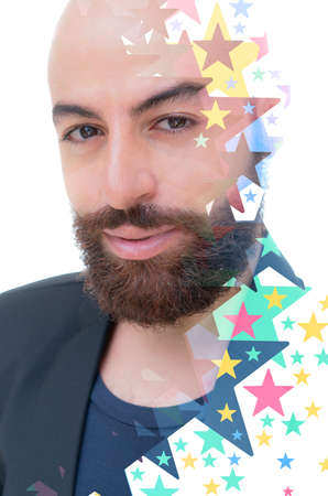A bearded bold man in a black jacket with a sly smile looking into the camera colorful digital illustration portrait