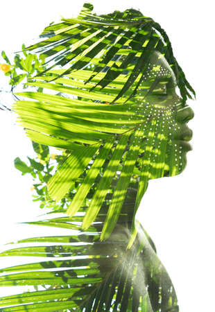 A creative portrait of a mans profile in green colors