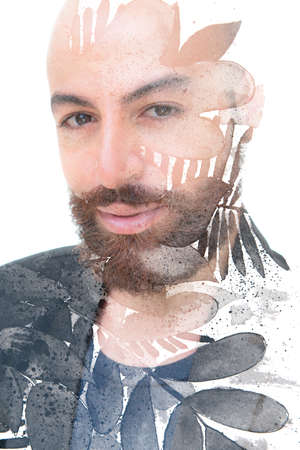 An artistic portrait combined with floral paintography