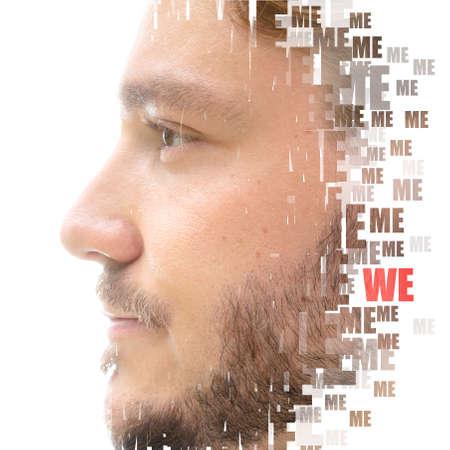 A mans profile portrait with a concept words