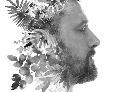 A tropical monochorme portrait of a man Reklamní fotografie