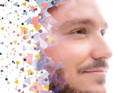 A colorful geometrical close up of a mans portrait