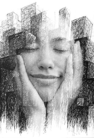 A paintography portrait of a half smiling young woman with eyes closed holding her chin with hands Reklamní fotografie