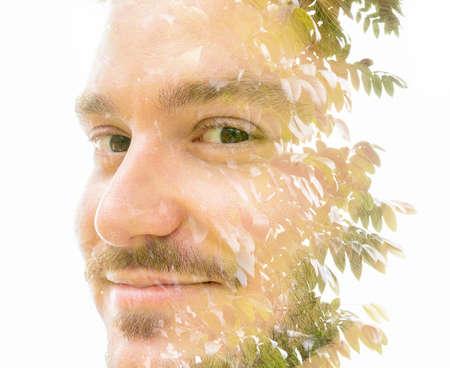 A smiling mans double exposure portrait close up