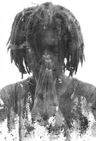 A grunge portrait with ink splash