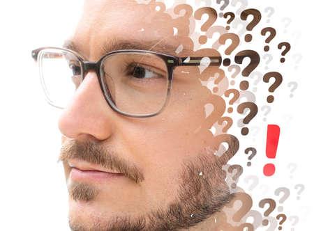 A conceptual portrait of a man with glasses