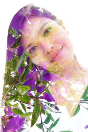 A vibrant photo portrait of a smiling woman