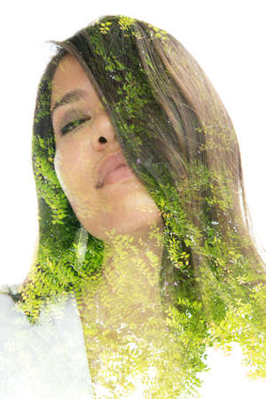 A exposure of a long haired asian woman