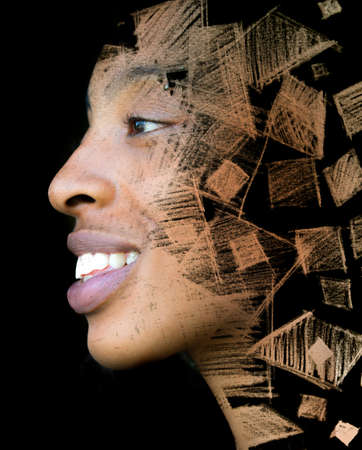 A womans artistic portrait with geometrical pattern