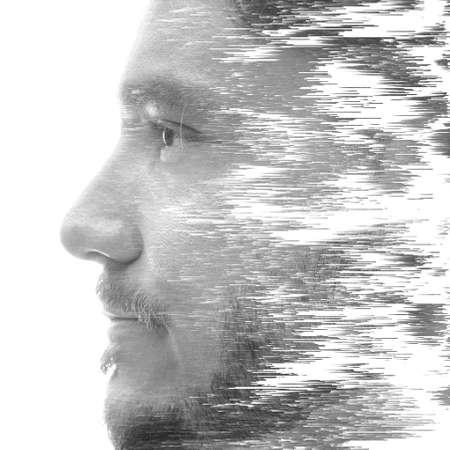 A creative mans profile portrait with a texture effect