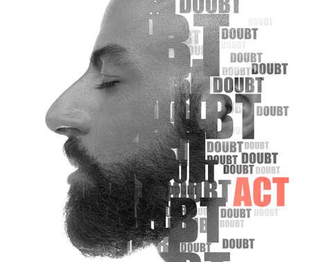 A reflective profile portrait of a man Reklamní fotografie