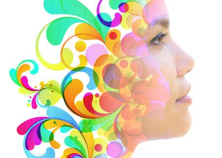 Acid bright portrait of a woman