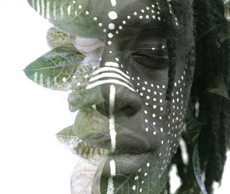 A conceptual portrait close up in black and white double exposure Reklamní fotografie