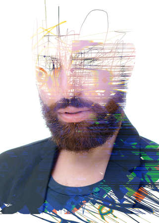 An abstract portrait of a man