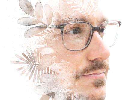 A creative paintography portrait of a man with glasses Reklamní fotografie