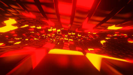 Moving neon light surfaces 3D render