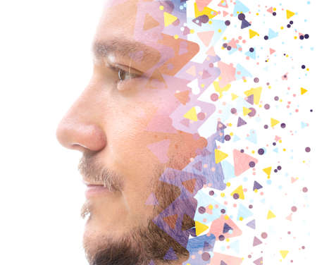 A mans profile portrait combined with colorful geometrical pattern