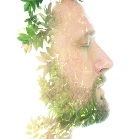 A translucent portrait of a bearded man