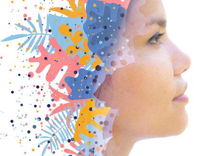 A profile portrait of an asian woman with artistic contour Stock fotó