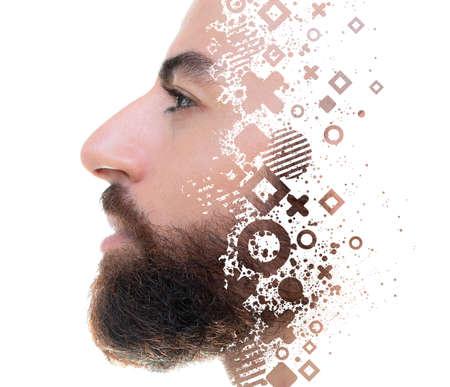 A portrait of a man with symbols