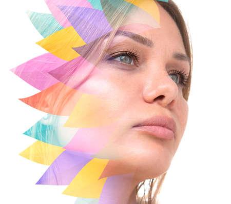 A womans colorful right side portrait