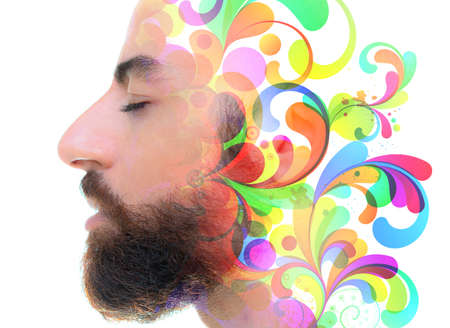 A psychodelic portrait of a man with closed eyes