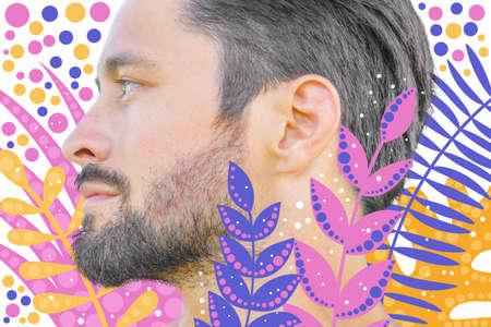 Mans artistic profile portrait on bright dotted pattern Stock fotó