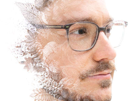 An artistic paintography portrait of a man in glasses Stock fotó