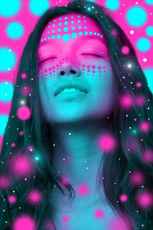 Portrait of a woman with geometric elements Stock fotó