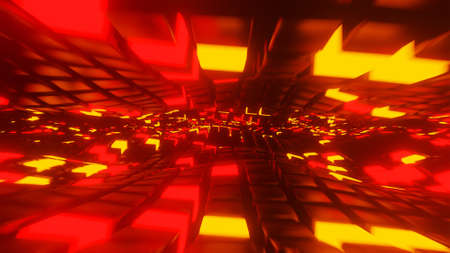Moving through a tunnel of lit cubes 3D render Stock fotó
