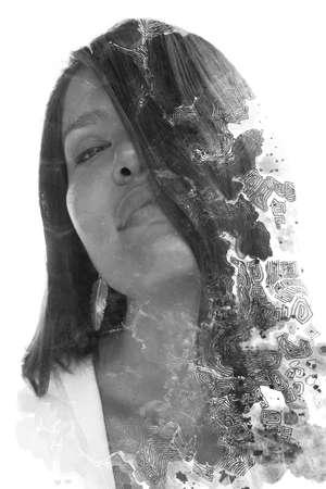 A modern double exposure portrait of a woman Stock fotó