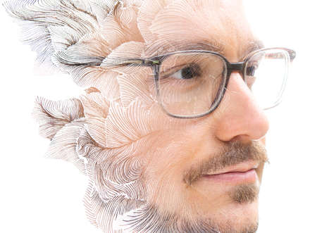 A portrait of a man in glasses combined with ink drawing