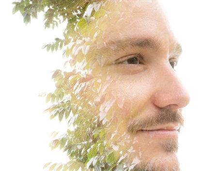 A mans portrait closeup double exposure