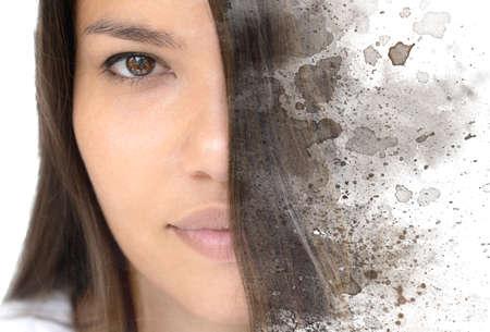 A creative paintography portrait close up