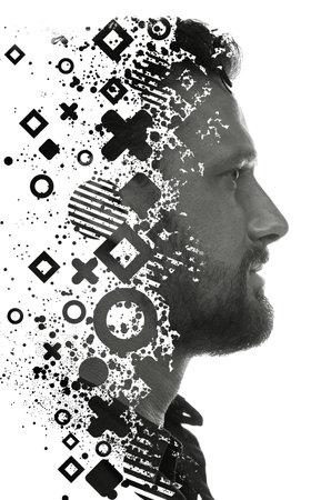 A monochrome geometric portrait of a mans profile