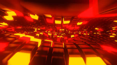 Red and yellow neon light cubes 3D render