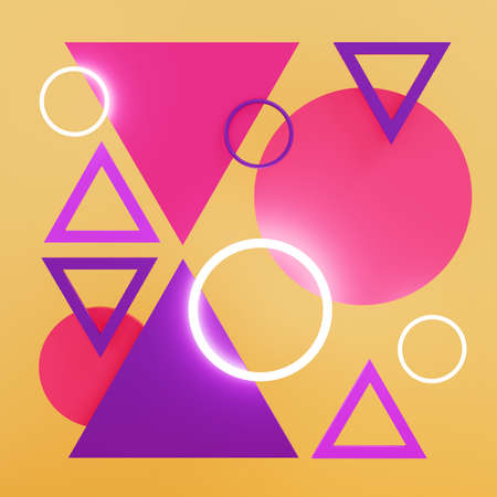 Abstract artwork made of triangles and circles. 3D illustration.
