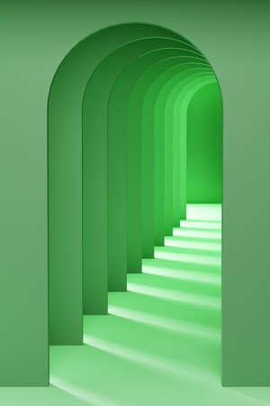 A tunnel of arches. 3D Illustration Foto de archivo