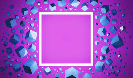 Colorful 3D illustration of a glowing square frame against a pink background Foto de archivo