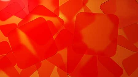 Red transparent squares. 3D illustration Foto de archivo