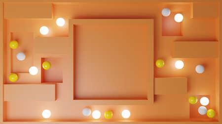 3D Illustration of an orange maze andshine spheres.