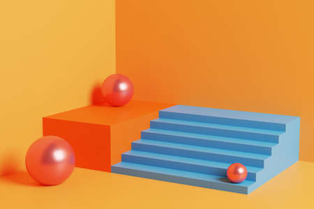Bright and colorful 3D illustration