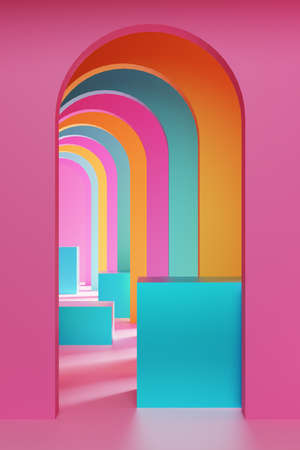 Realistic 3D illustration of colorful arches and cubes