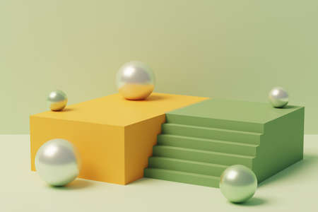 3D illustration of stairs leading to a platform for a product