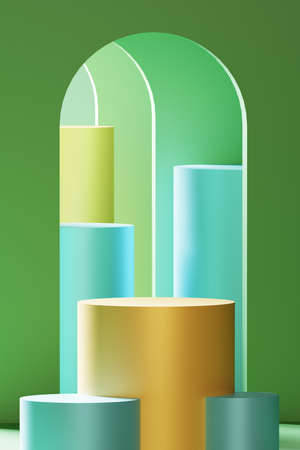 Realistic 3D illustration of green arches and a pedestal