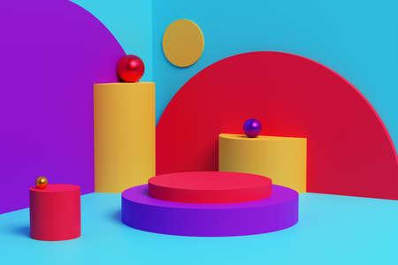 Colorful interior and an empty platform. 3D illustration Foto de archivo