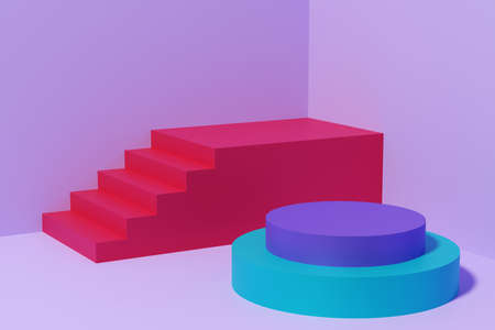 Red stairs and an empty platform for a product. 3D illustration Foto de archivo