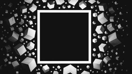 Black and white 3D illustration with space for a text