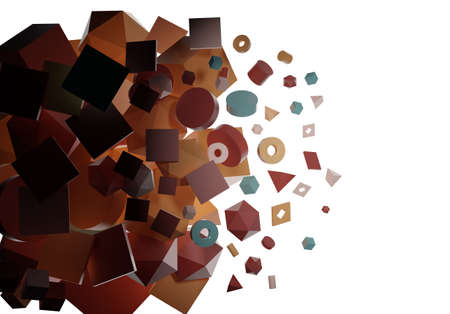 A burst of abstract geometrical shapes. 3D illustration