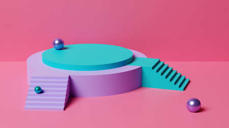 Empty pedestal against a pink wall. 3D illustration